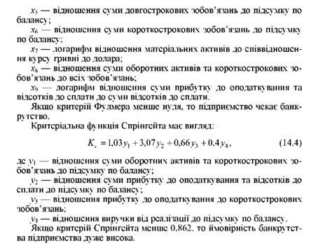 модель банкротства г спрингейта
